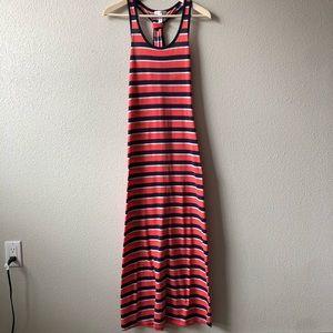 Red & Blue Striped Racerback Maxi Dress Sz Medium